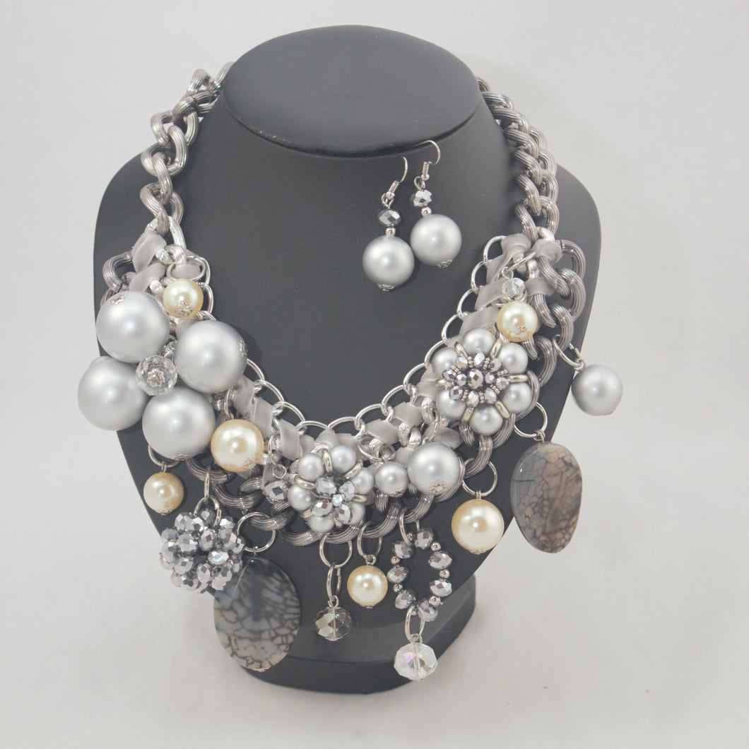 Sale Grey and Cream Beaded Neckpiece with Earrings