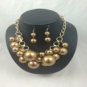 "Sale  Gold - Bubbles Neckpiece (20"") and Earrings"
