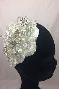 SALE  Charlotte Ivory/Silver  Beaded Headpiece
