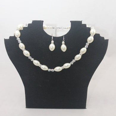 Sale Cream Pearl and Crystal Necklace Set