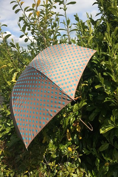 Taupe and Blue Polka Dot Fashion Umbrella