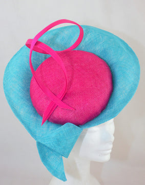 SALE  'Roma' Turquoise and Cerise Hat