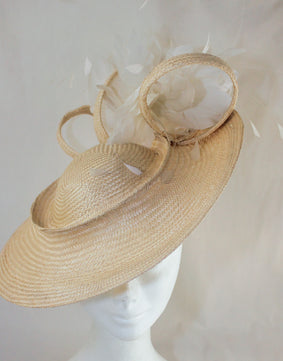 Suzie Buntal Hat Cream with Feather Trim