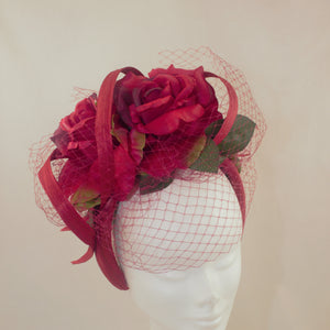 Red Silk Roses Headband