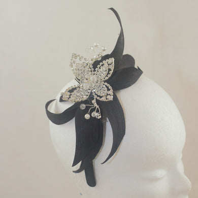 SALE Black Silk Star Headpiece