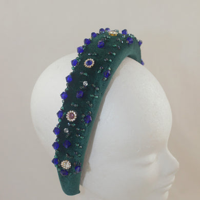 Beaded Headband - Green and Blue
