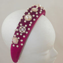 Load image into Gallery viewer, Beaded Headband - Burgundy with Pearl