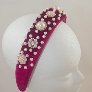Beaded Headband - Burgundy with Pearl