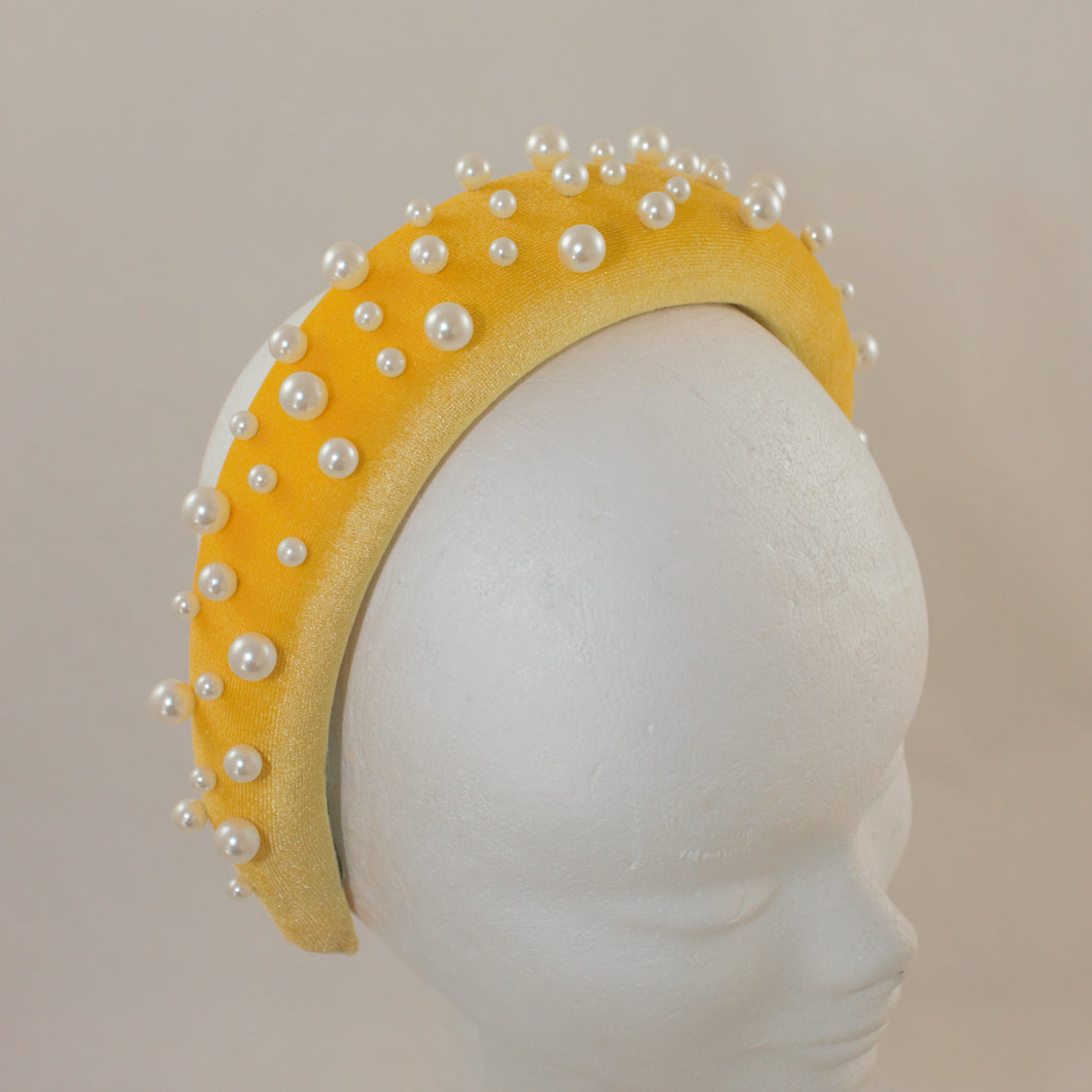 Beaded Headband - Yellow with Pearl