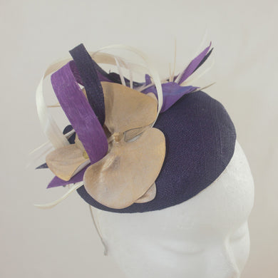 Purple Headpiece with Gold and Ivory