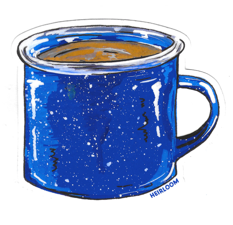 Camp Coffee Sticker | Blue Enamel Coffee Mug Vinyl Decal
