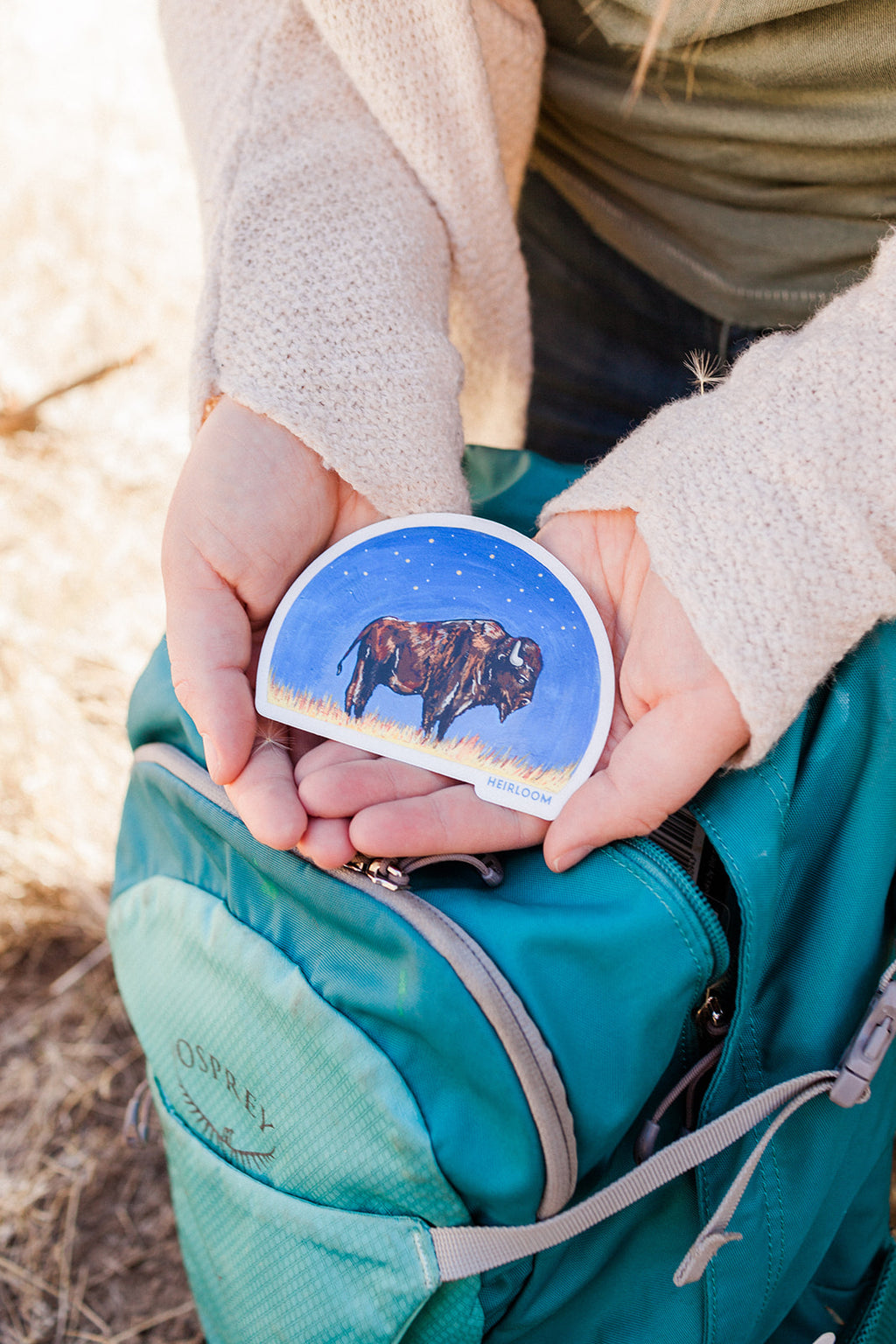 Woman holding a vinyl sticker featuring a bison in profile against the backdrop of a night sky. It is a hand painted design that has been reprinted on a durable vinyl sticker. it is a half circle sticker.