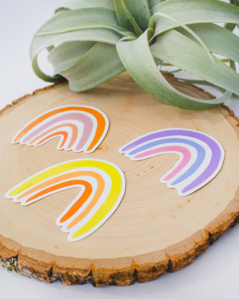 Pink & Orange Boho Rainbow Sticker | Vinyl Art Decal