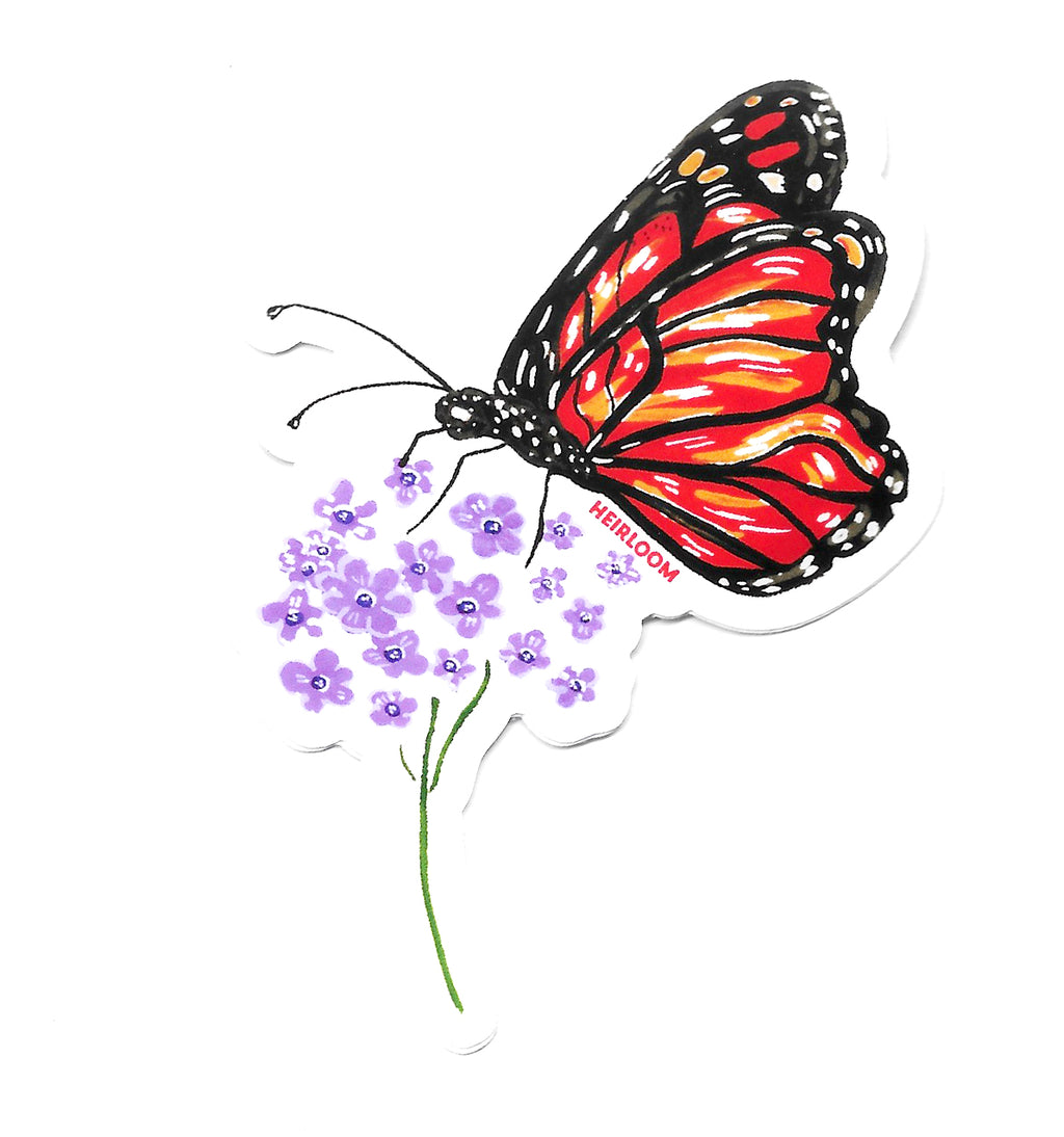 Monarch Butterfly and Milkweed Sticker