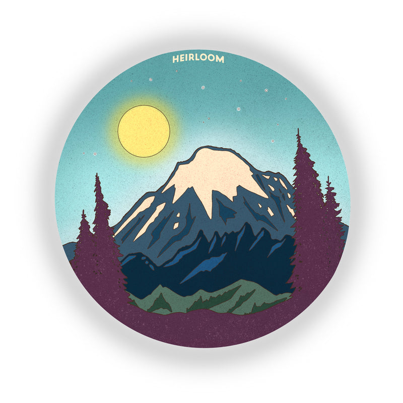 Mount Rainier Full Moon Sticker