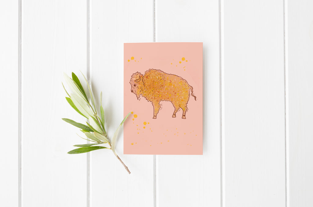 Paint Splash Bison Greeting Card