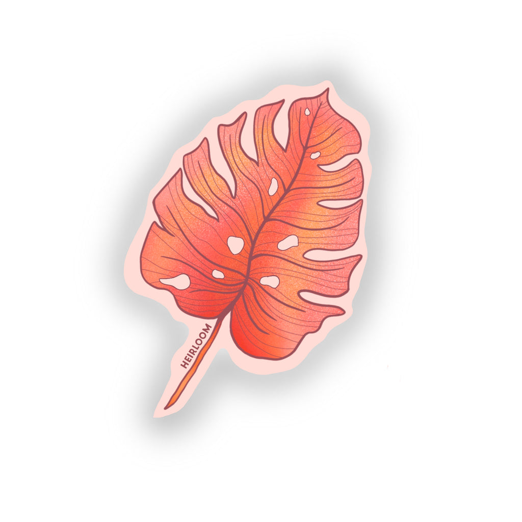 Pink Monstera Leaf Sticker