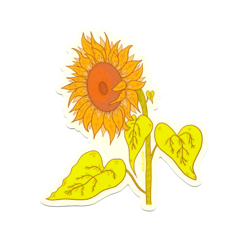 Retro Sunflower Sticker | Flower Art Decal