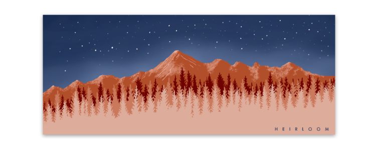 Rust Mountain Range Sticker | Vinyl Decal