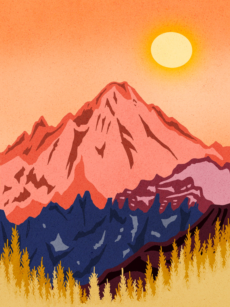 "Golden Glow Mountain 8"" x 10""  Art Print"
