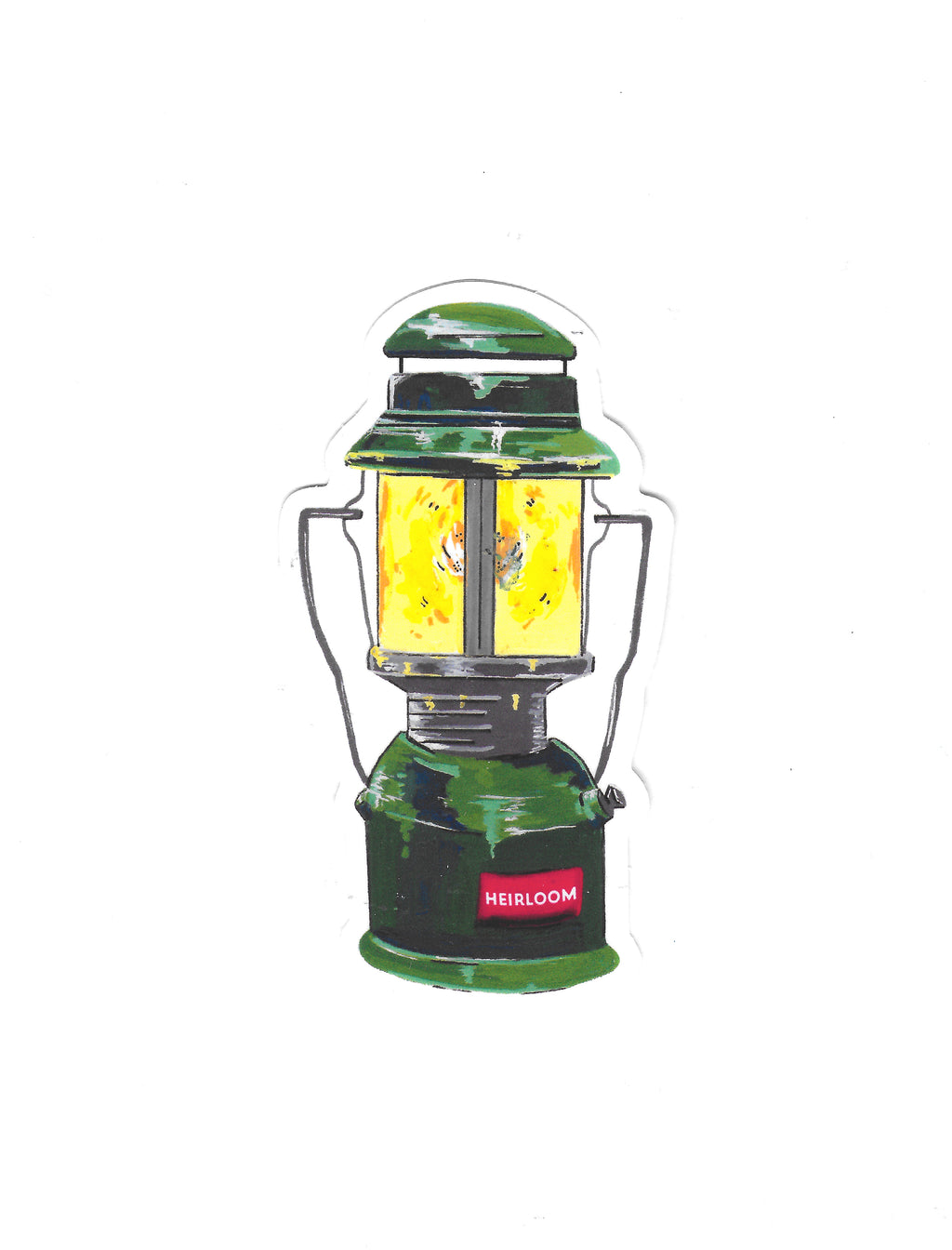 A vinyl sticker featuring a vintage camping lantern design that has been hand painted. It is painted to look like it is glowing. It is green with a red label.