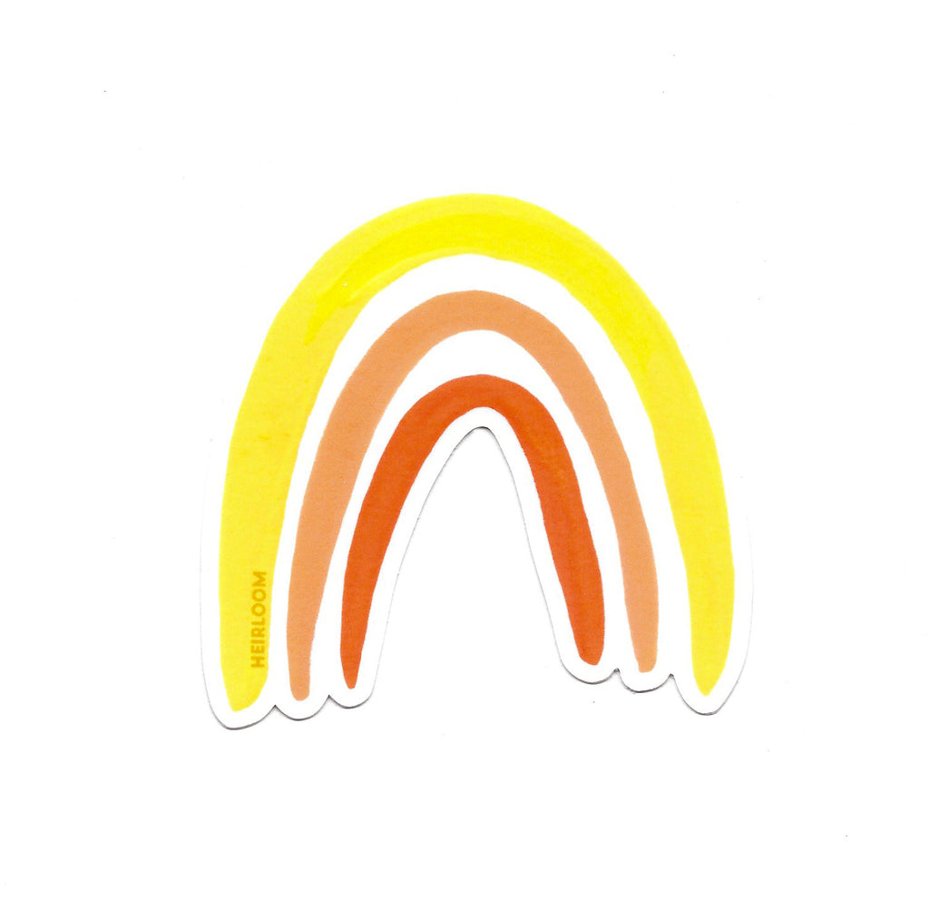 Yellow & Orange Boho Rainbow Sticker | Vinyl Art Decal