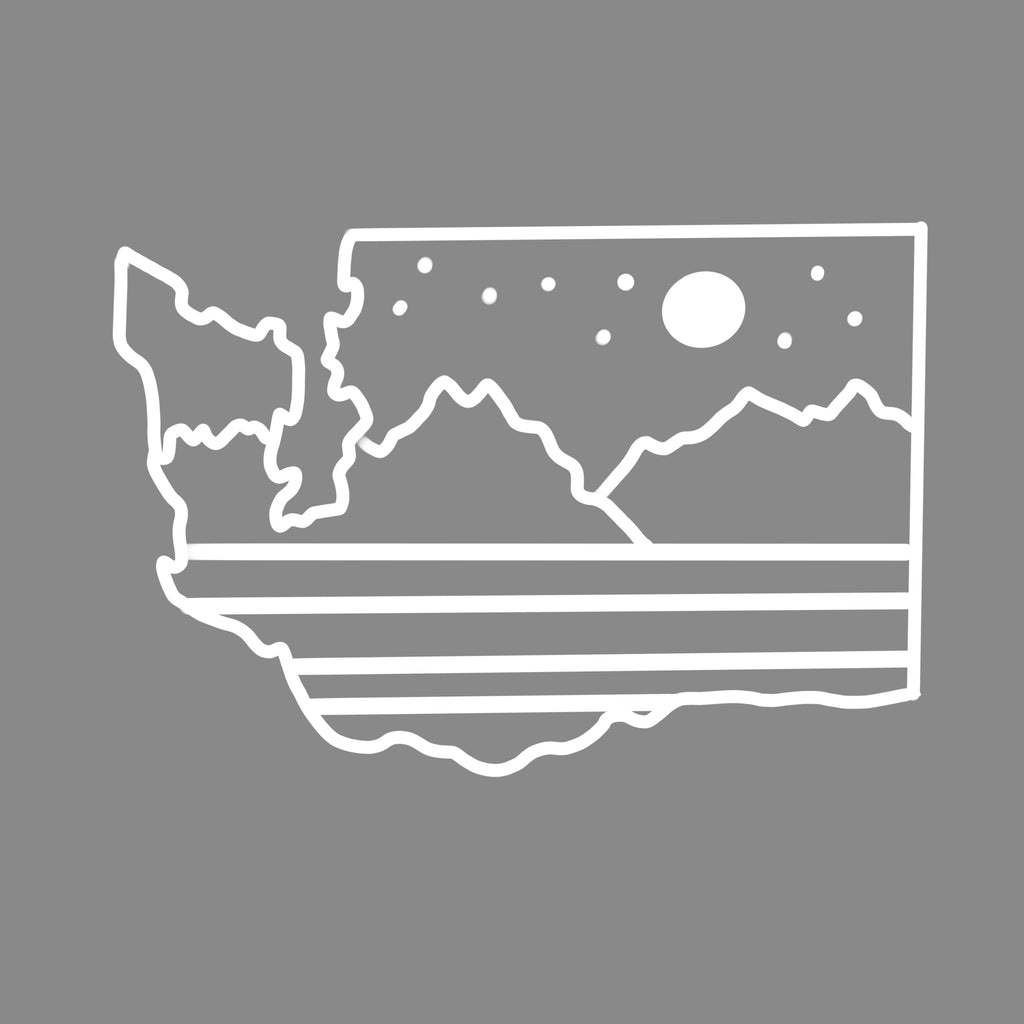 WA State Mountains and Stars Vinyl Car Decal