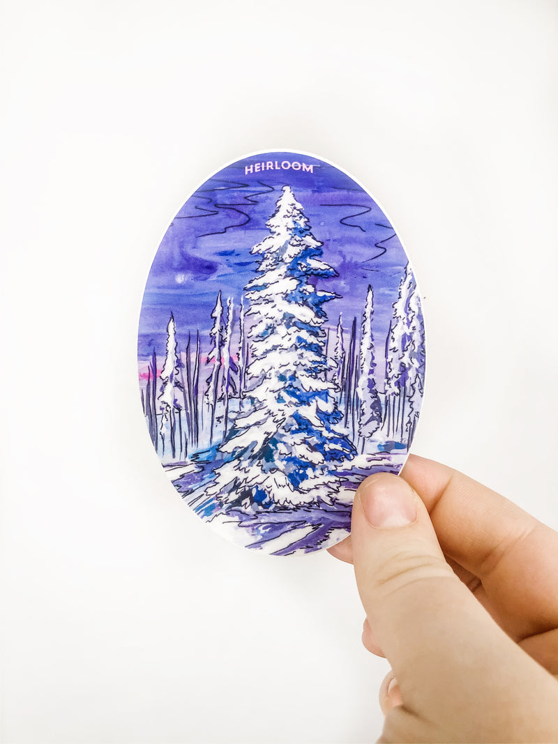 Snow Covered Pine Vinyl Sticker