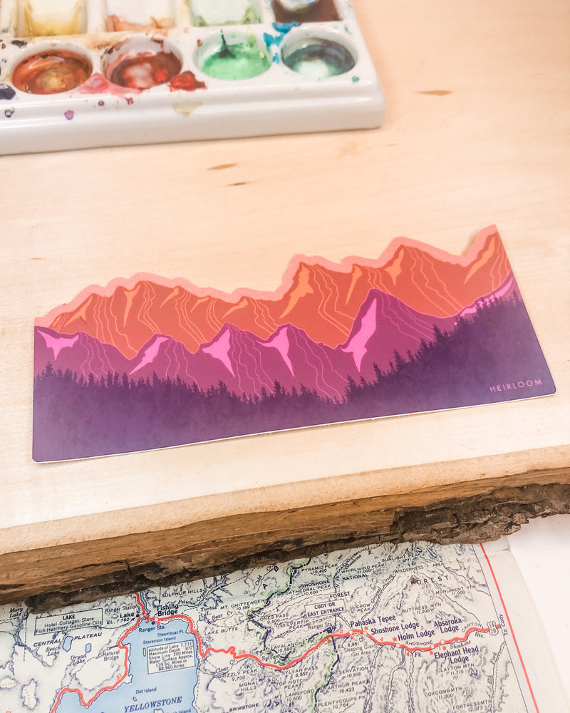 Purple & Orange Mountain Wrap Sticker | Art Vinyl Decal