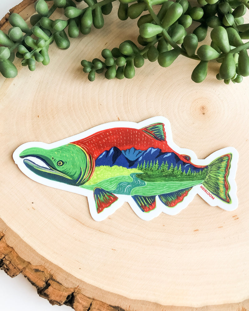Scenic Salmon Sticker | Vinyl Decal