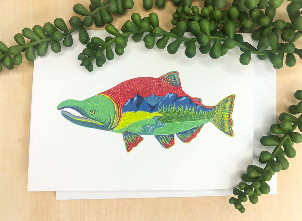 Scenic Salmon Greeting Card