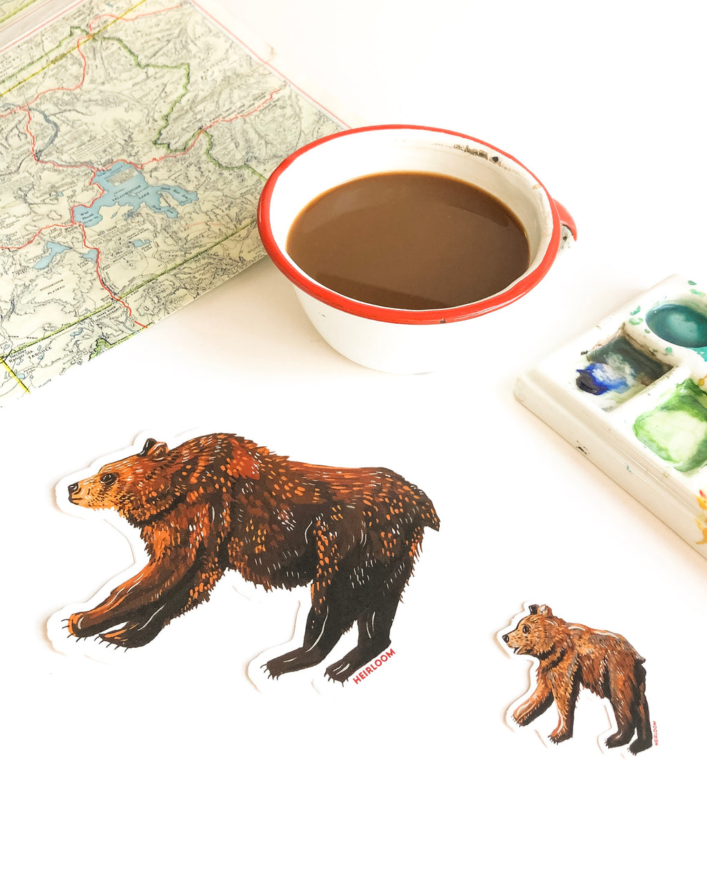Mama Bear papa bear sticker baby bear sticker grizzly bear brown bear nature animals pacific northwest wildlife vinyl decals weatherproof water bottle stickers laptop stickers forest animals mama and baby bear
