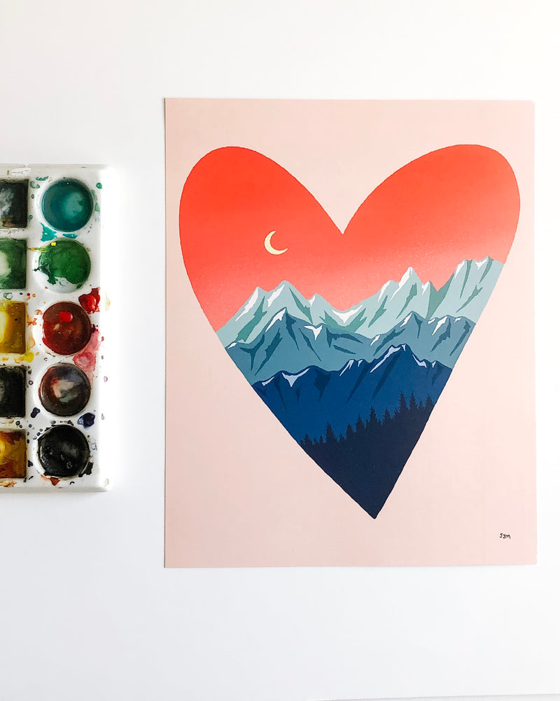 "Mountain Love 8"" x 10"" Art Print"