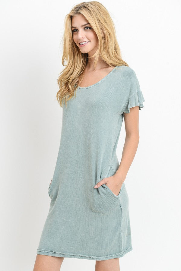 Mineral Wash Ruffled Trim Dress in Light Blue | Allure Apparel Co