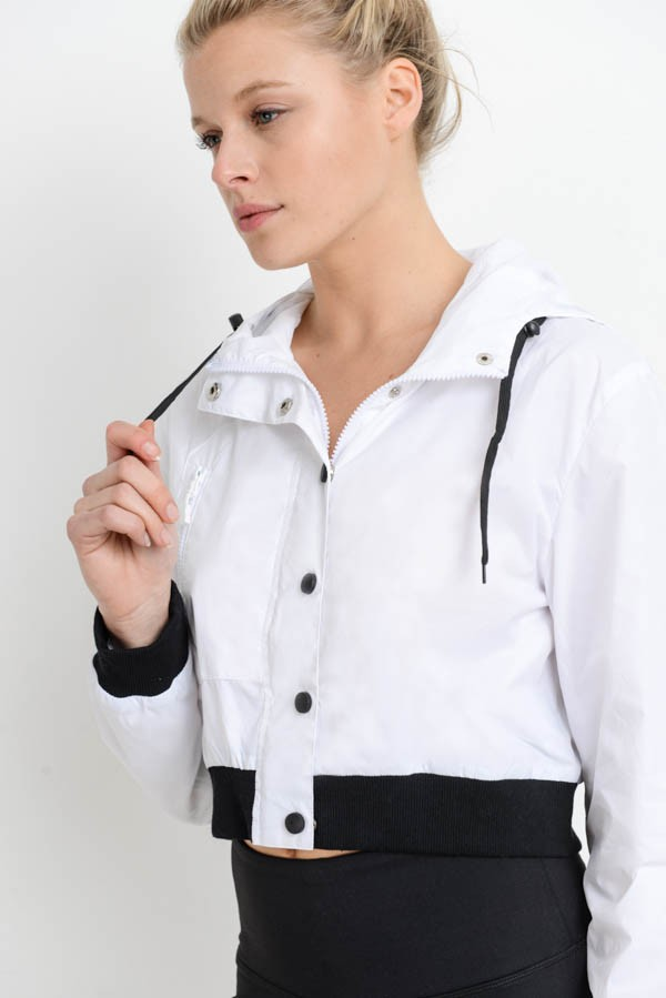 Crop Button-Up Contrast Active Jacket | Allure Apparel Co