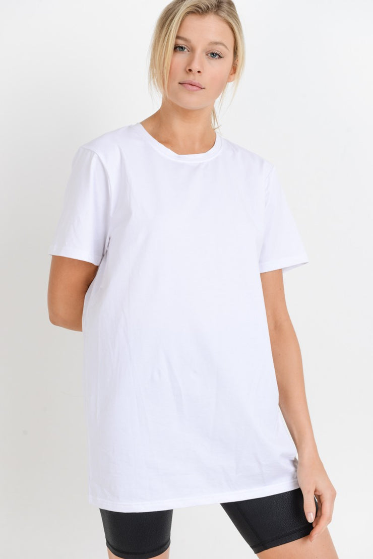 Essential Jersey Crew Neck Loose Tee in White | Allure Apparel Co