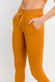 Skinny Cargo Moto Hybrid Joggers in Amber/Gold | Allure Apparel Co