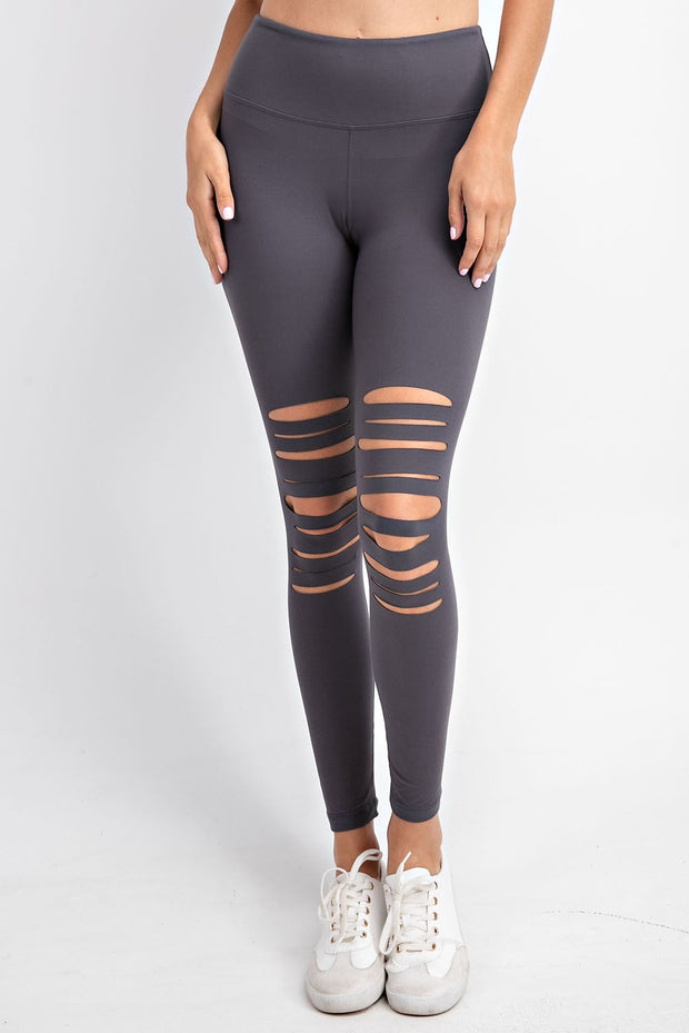 Laser Cut Wide Waistband Full Leggings in Charcoal | Allure Apparel Co
