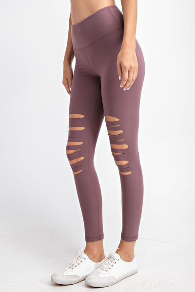 Laser Cut Wide Waistband Full Leggings in Dark Mauve | Allure Apparel Co