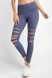 Laser Cut Wide Waistband Full Leggings in Vintage Denim | Allure Apparel Co