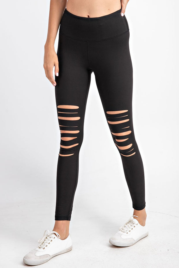 Laser Cut Wide Waistband Full Leggings in Black | Allure Apparel Co