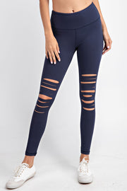 Laser Cut Wide Waistband Full Leggings in Navy | Allure Apparel Co