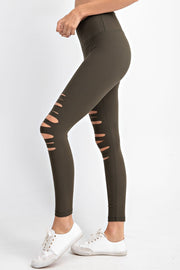 Laser Cut Wide Waistband Full Leggings in Olive | Allure Apparel Co