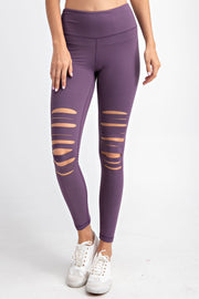 Laser Cut Wide Waistband Full Leggings in Vintage Violet | Allure Apparel Co