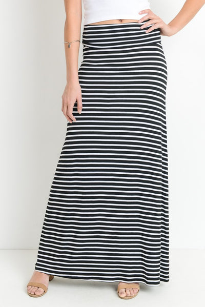 Striped Maxi Skirt in Black & White | Allure Apparel Co