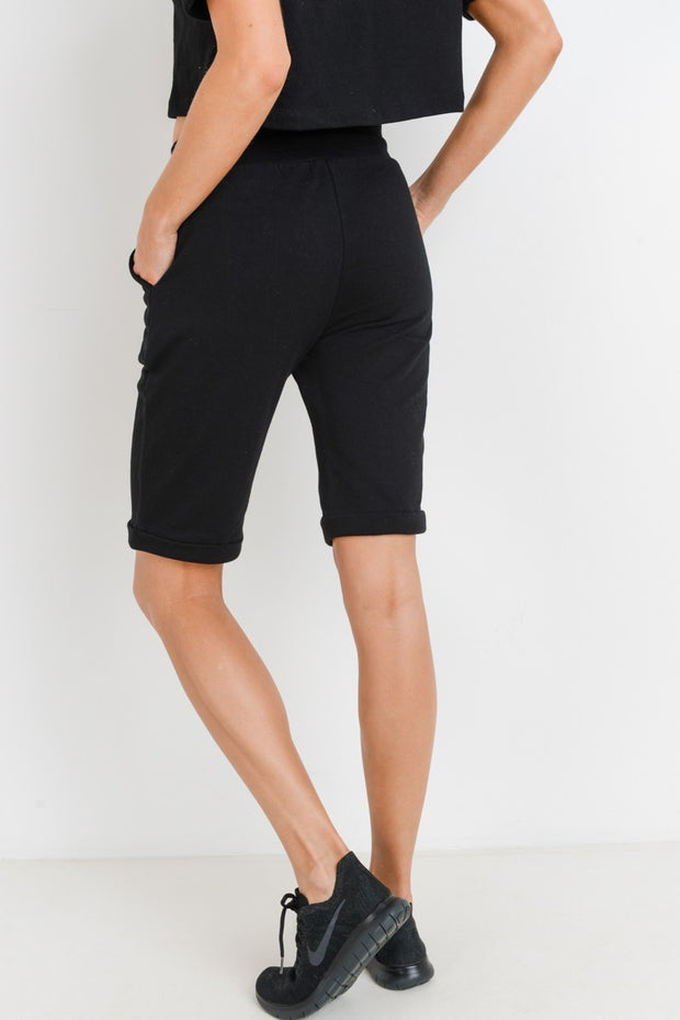 Midi Lounge Drawstring Shorts in Black