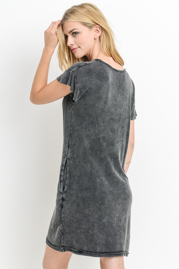 Mineral Wash Ruffled Trim Dress in Black | Allure Apparel Co
