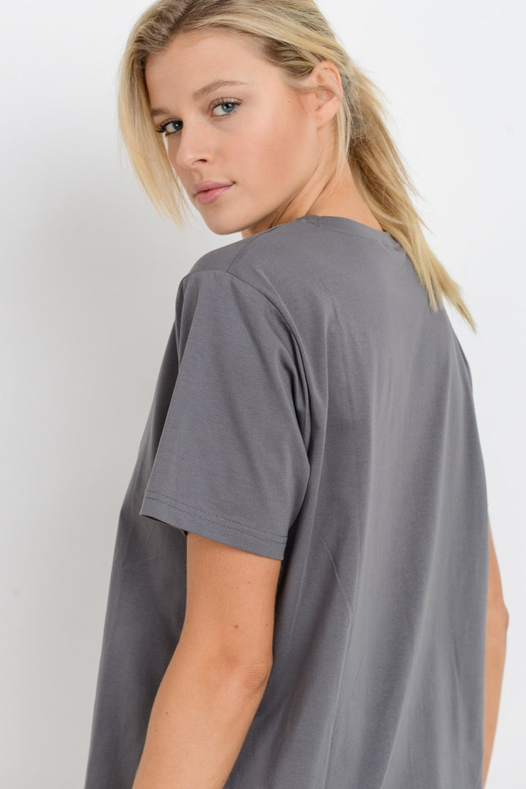 Essential Jersey Crew Neck Loose Tee in Grey | Allure Apparel Co