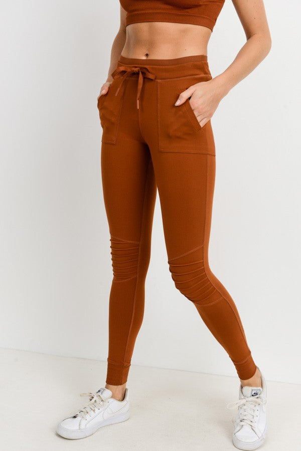 Skinny Cargo Moto Hybrid Joggers in Acorn | Allure Apparel Co