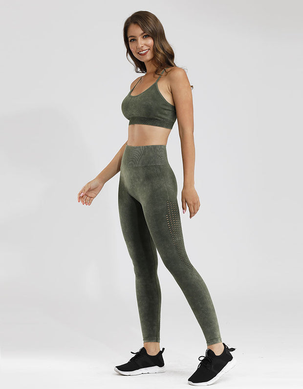 Velour Mesh Seamless Set in Siam Green | Allure Apparel Co